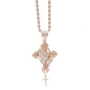 Other - Rose Gold Lab Diamond Pray Hand Cross Charm Chain
